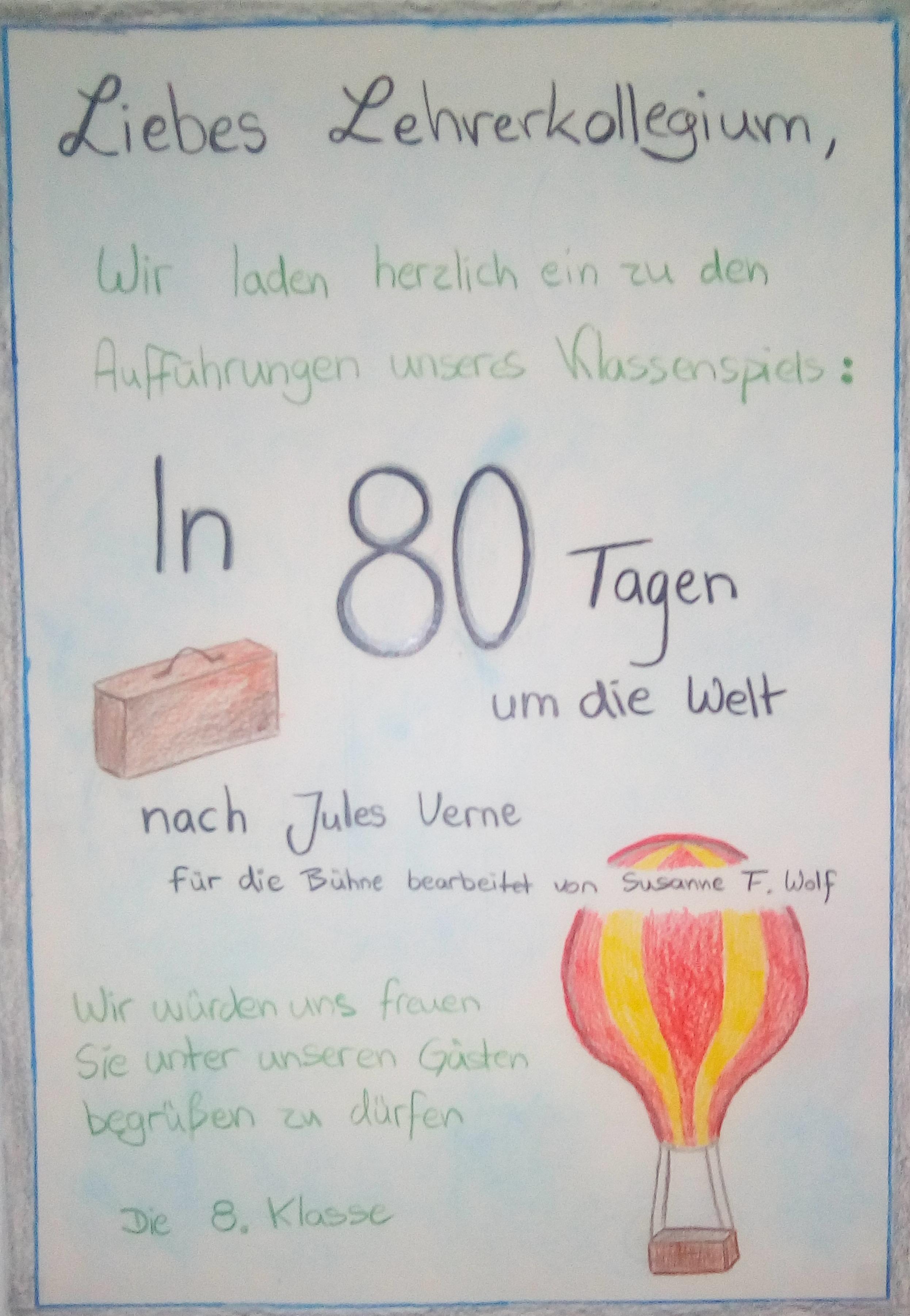 Klassenspiel 8 Klasse Spielt In 80 Tagen Um Die Welt Nach Jules